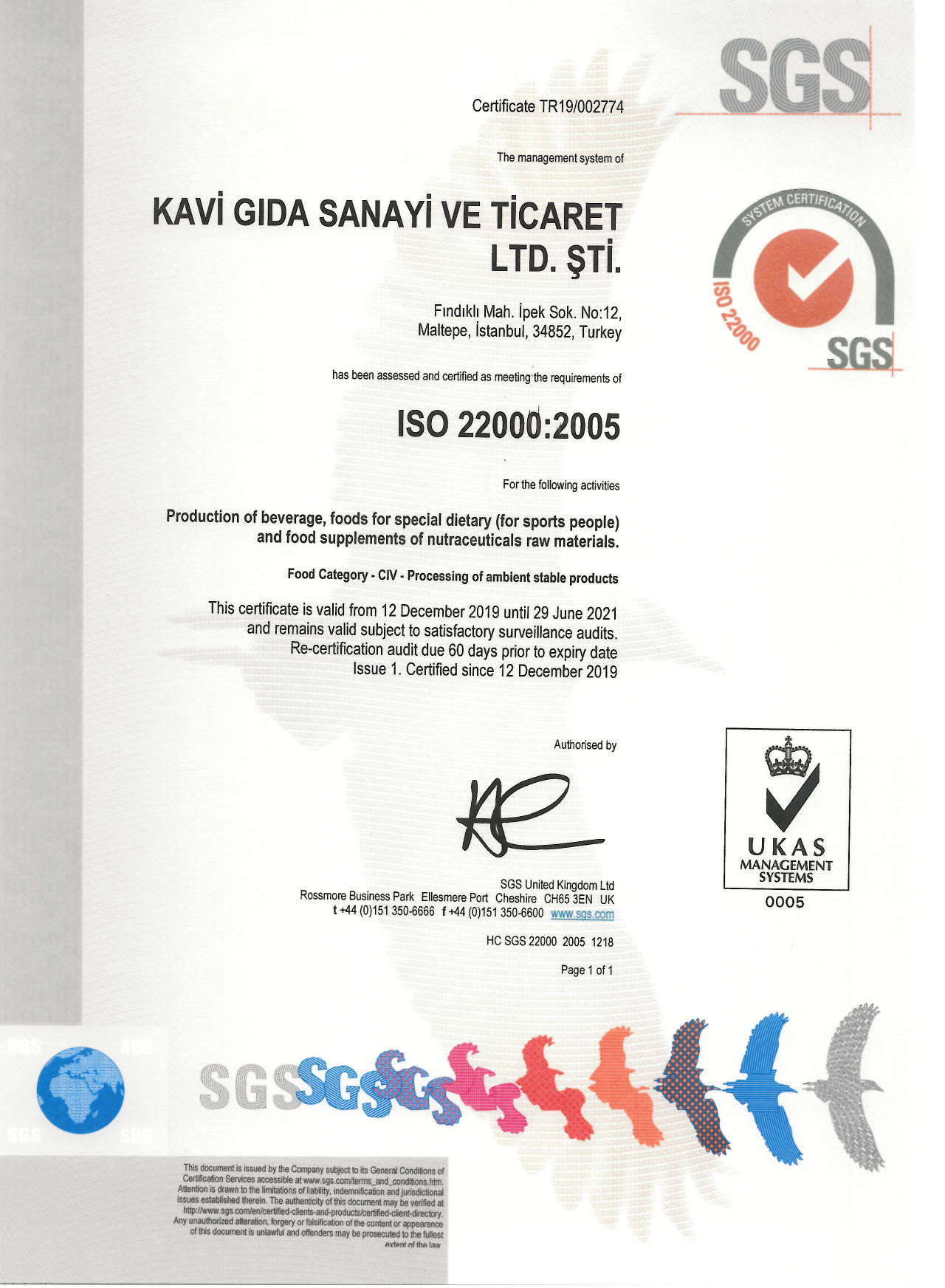 Sgs (İso 22000)